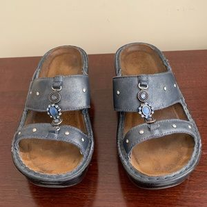 NAOT Sandals 7.5 US 38 EU Blue Gray Leather Jewel
